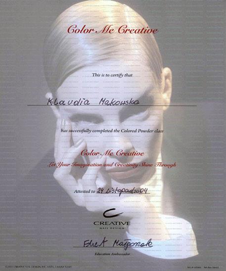 "Certyfikat ""Creative Nail Design"" wydany przez Ekert Nails"