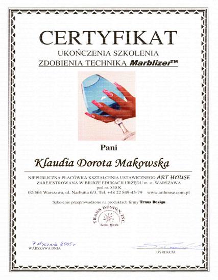 """Certyfikat """"Marbilizer"""" wydany przez Art-House Warszawa"""