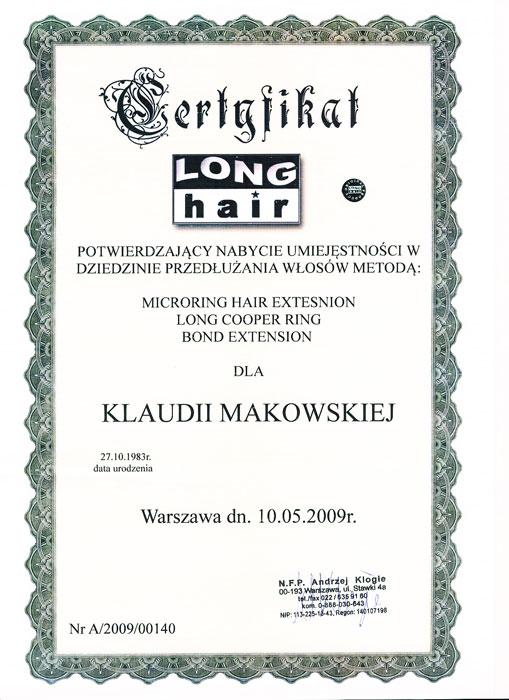 Certyfikat - przedłużanie włosów wydany przez Long Hair
