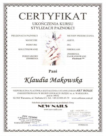 """Certyfikat """"New Nails"""" wydany przez Art-House Warszawa"""