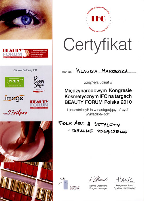 Certyfikat - udział w Międzynarodowym Kongresie Kosmetycznym