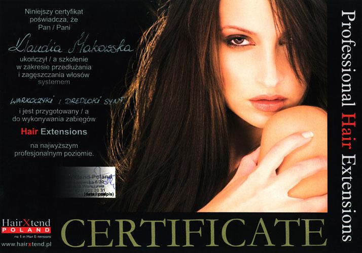 Certyfikat - warkoczyki i dredloki wydany przez HairXtend