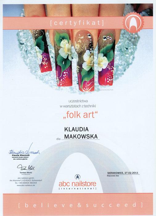 Certyfikat uczestnictwa w szkoleniu z techniki FOLK ART