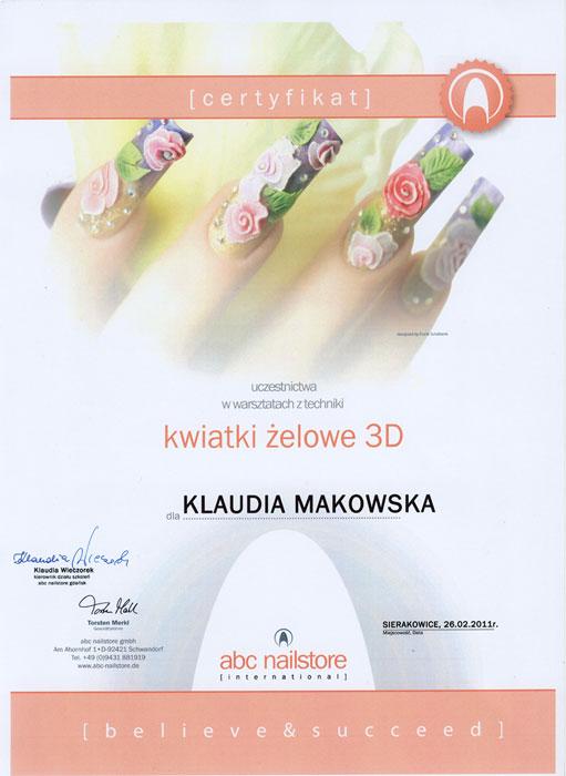 Certyfikat uczestnictwa w szkoleniu z techniki kwiatki żelowe 3D