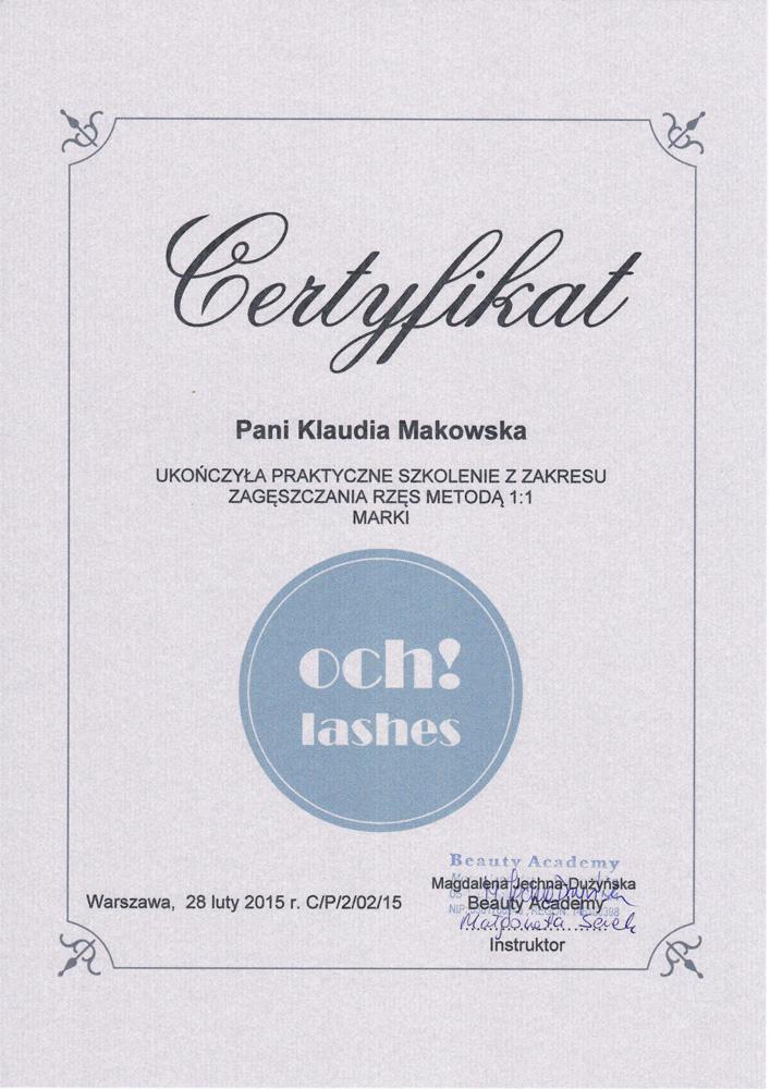 Certyfikat ukończenia kursu zagęszczania rzęs